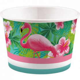 AMSCAN Lot de 8 Coupelles à glace Flamant rose 270 ml
