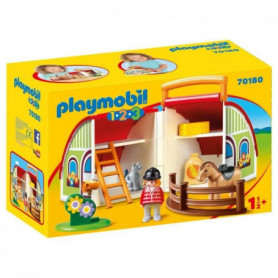 PLAYMOBIL 1 2 3 - 70180 - Centre équestre transportable