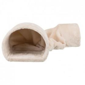 Tunnel douillet peluche - 27 × 21 × 80 cm - Beige - Pour lapins