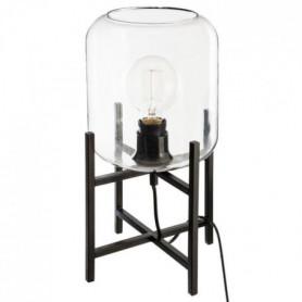 Lampe a poser en métal et verre - H 35 cm - Noir