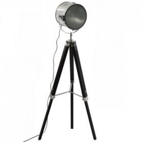 Lampadaire en métal et bois - H 152 cm - Noir