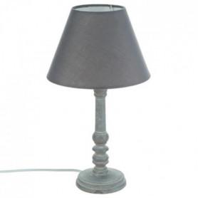 Lampe a poser en bois - Ø 20 x H 35 cm - Gris
