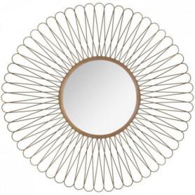 Miroir soleil à boucles en métal - Ø 76 cm - Noir