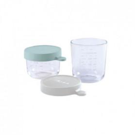BEABA Coffret 2 portions verre 150ml airy green /250ml