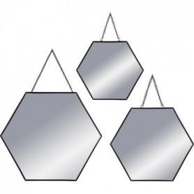Set de 3 Miroirs hexagonaux a suspendre en métal - Noir