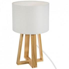 Lampe sur pied en bois - H. 34,5 cm - Blanc