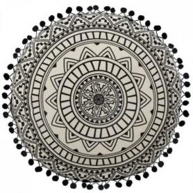Coussin rond - Ø 40 cm - Noir et blanc