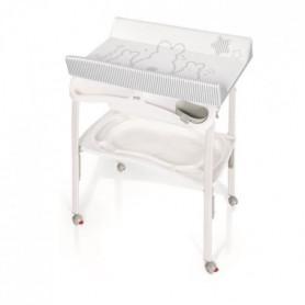BREVI Table à langer pliante Pratico - Lapinou perle