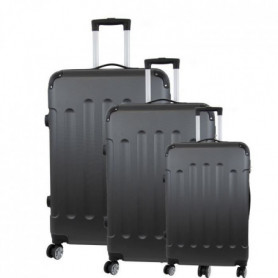 Set de 3 Valises Trolley Rigide ABS - 8 Roues - 50-60-70 cm - Gris foncé