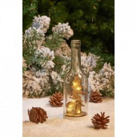 Bouteille avec décor nature et LED - Verre et bois - H 24 x 7 cm