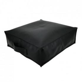 Coussin de sol SPENCER GARNI Simili Noir - 45x45x15cm