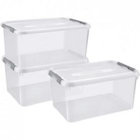 CURVER | Lot de 3 handy box - 50L, TRANSPARENT, 60x40x40,9 cm