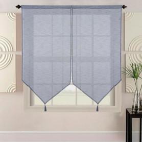 Paire de vitrage grande longueur aspect lin tissé - 60 x 220 cm - Noir