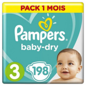 PAMPERS Baby Dry Taille 3 - 5 a 9kg - 198 couches