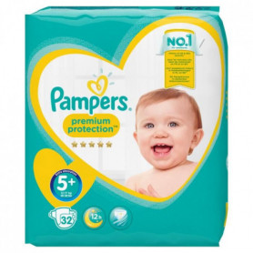 PAMPERS Premium Protection Taille 5+ 13-25 kg - 32 couches