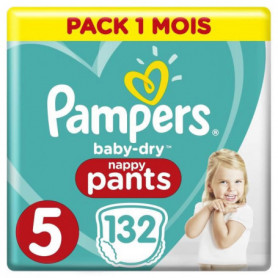 PAMPERS Baby-Dry Pants Taille 5, 12-17kg, 132 Couches