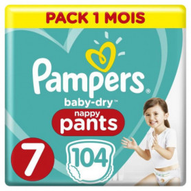 PAMPERS Baby-Dry Pants Taille 7, 17+kg,  104 Couches