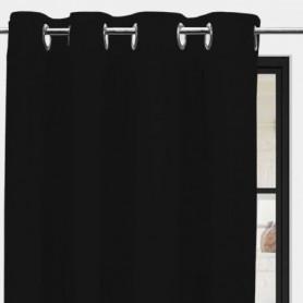 SOLEIL d'OCRE Rideau a oeillets Panama - 135 x 250 cm - Noir
