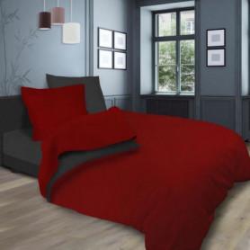 SOLEIL d'OCRE Parure de lit bicolore  - 240 x 290 cm - Rouge et gris