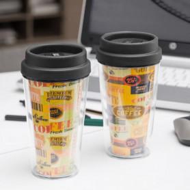 Verre avec Couvercle et Double Paroi Coffee
