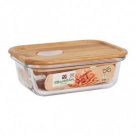 Boîte à repas rectangulaire avec couvercle Quttin Verre Bambou