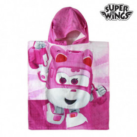 Serviette Poncho Rose à Capuche de Super Wings