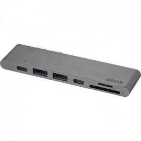 QDOS PowerLink Pro 7 en 1 Hub USB-C 7-en1 - Gris Sideral