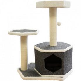 TYROL Arbre à Chat Design, 2 Etages, 2 Griffoirs Jute, Jouet,