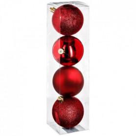 FEERIC LIGHTS & CHRISTMAS Kit de 4 boules de Noël - 80 mm - Rouge