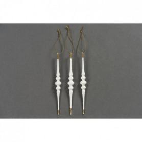 Set de 3 suspensions glaçons déco de Noël - H.17 cm - Blanc et or