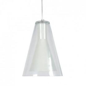 FUNNEL Suspension verre acier 20x20x90 cm Blanc