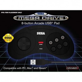 Manette filaire noire Retrobit SEGA Mega Drive