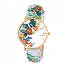 CLUELESS Montre Quartz Tropical en Cuir Blanc Femme