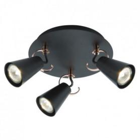 SASO Plafonnier 3L métal - 17,5x36cm - Noir / cuivre