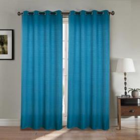 Paire double rideaux 140x260 cm Bleu - Effet lin