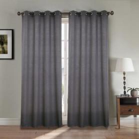 Paire double rideaux 140x260 cm Gris - Effet lin