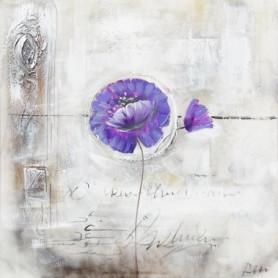 LILAS Toile peinte Fleur lilas - Coton - 70x70 cm