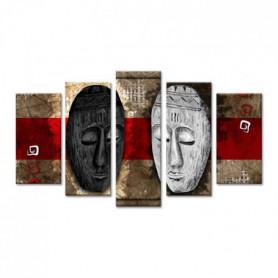 AFRIKA Tableau multi panneaux 150x80 cm rouge