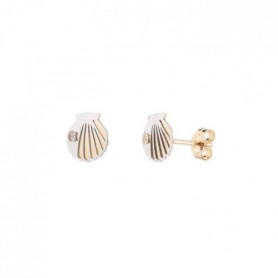 YSORA -  Boucles D'Oreilles Coquillage en Or Bicolore 9 CT