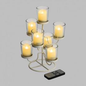 LOTTI Chandelier en métal blanc - 7 verres et 7 bougies LED