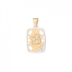 YSORA -  Médaille Rectangulaire Ange en Or Bicolore
