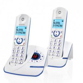 l F390 Duo Téléphone Sans Fil Répondeur Blanc Bleu