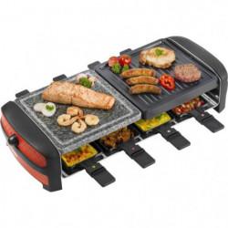 3 en 1 Raclette, gril et pierre de cuisson avec 8 poelons