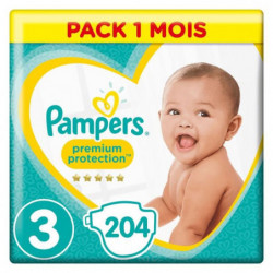 PAMPERS Premium Protection Taille 3 - 5 a 9 kg - 204 Couches