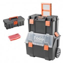 TOOD Lot Servante sur trolley 2 en 1 avec boite à outils