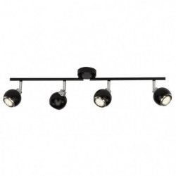 Plafonnier LED a 4 lumieres Ina 2xGU10 3W noir et chrome