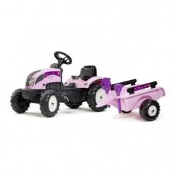 FALK Tracteur Princess Trac avec remorque - Rose